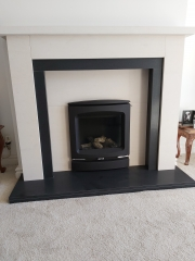 Limestone and Granite Fireplace with Gazco Logic HE Gas Fire, Much Hoole, Preston, Lancashire