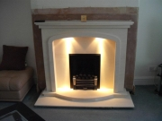 EKO 3030 Gas Fire in Portuguese Limestone Fireplace with Lights, Birkdale, Southport, Merseyside