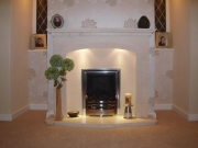 EKO 3030 Gas Fire in Portuguese Limestone Fireplace with Lights, Penwortham, Preston, Lancashire