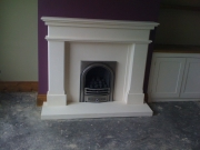 Gas Fire in Portuguese Limestone Fireplace, Penwortham, Preston, Lancashire
