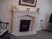 ​Gazco E-Box Gas Fire with Portuguese Limestone Fireplace with Lights, Birkdale, Southport, Merseyside