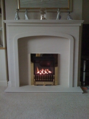 Gazco High Efficiency Gas Fire in Portuguese Limestone Fireplace with Lights, Tarleton, Preston