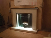 Legend Vantage Gas Fire in Marble Fireplace with Lights, Churchtown, Southport, Merseyside