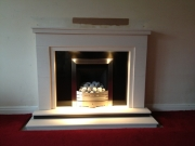 Legend Vantage Gas Fire in Portuguese Limestone Fireplace with Lights, Banks, Preston, Lancashire