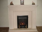 Legend Virage Slide Control Gas Fire in Portuguese Limestone Fireplace, Leyland, Preston, Lancashire