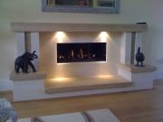 Gazco Studio 2 Open Fronted in Limestone & Travertine MTM Fireplace, Mawdseley, Preston, Lancashire