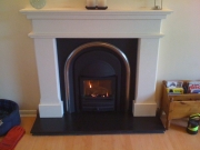Cast Tec Solid-Fuel Integra Limestone Fireplace Black Slate Hearth, Chorley